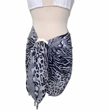 Half Sarong/Mini Sarong Feline Sarong in Black and White