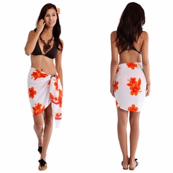 "Half Sarong/Mini Sarong Hibiscus ""White / Orange"" - FRINGELESS"
