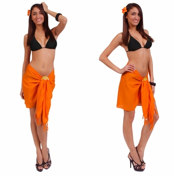 "HALF SARONG / MINI SARONG PAREO ""Orange"""