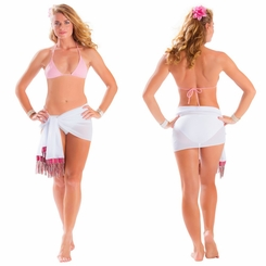 Half White Sheer Sarong with Colored Fringe