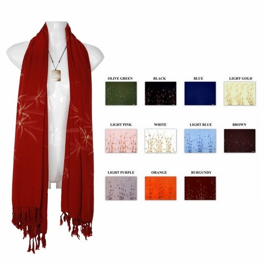 Hand Painted Bamboo Motif Plus Size Scarf, Wrap or Shawl - in your choice of colors