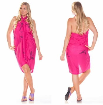 Hand Painted Butterfly Sarong in Hot Pink