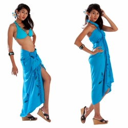 Hand Painted Butterfly Sarong in Turquoise