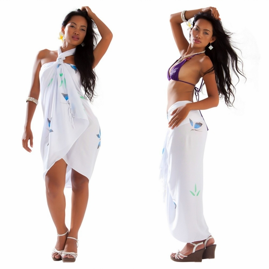 Hand Painted Butterfly Sarong in White