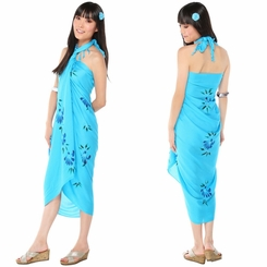Hand Painted Floral Sarong in Turquoise