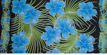 "Floral Half Sarong ""Tahitian Dreams"" Blue and Black"