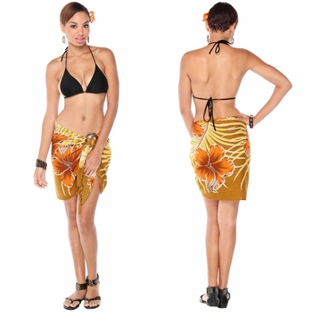 Hawaiian Half Floral Sarong in Browns