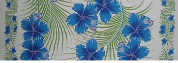 Hawaiian Half Sarong in Blue/Green/White