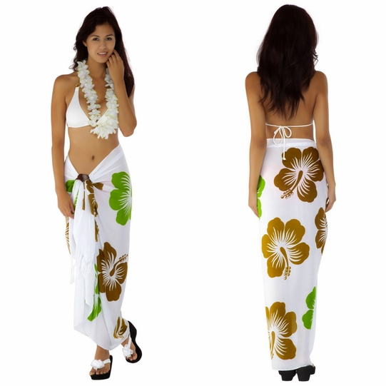 "Hawaiian Sarong ""Khaki / Lime Green / White"""