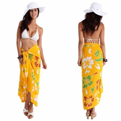 "Hawaiian Sarong ""Yellow w/ Green & Caramel"""