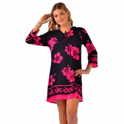 Hibiscus Floral Tunic Cover-Up Black and Pink