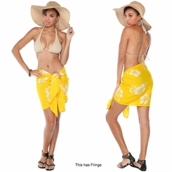 Hibiscus Flower Half Sarong in White / Yellow