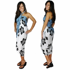 Hibiscus Flower Sarong - Black/Grey/White