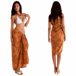 Hibiscus Flower Sarong in Brown