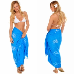 "Hibiscus Flower Sarong ""Light Blue"""