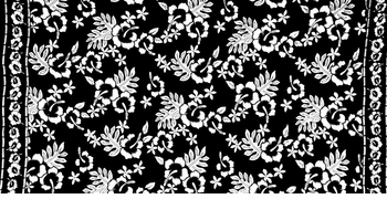 "Floral Half Sarong ""Hula Dance"" Black and White"