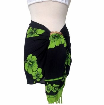 Hibiscus Half Sarong/Mini Sarong in Lime Green / Black