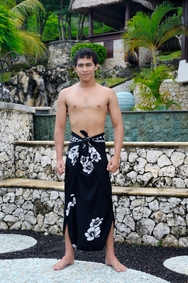 "Hibiscus Mens Sarong ""Black / White"""