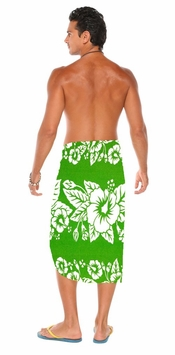Hibiscus Mens Sarong Green / White