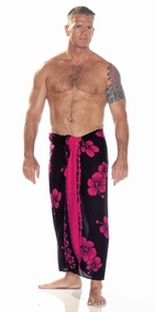 Hibiscus Mens Sarong in Black W/ Pink