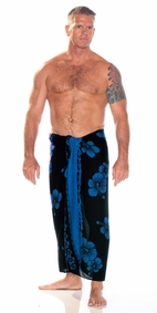 Hibiscus Mens Sarong in Blue On Black