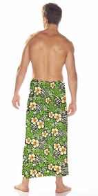 Hibiscus Mens Sarong in Lime Green / Green