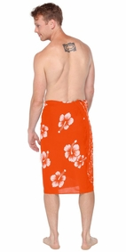 Hibiscus Mens Sarong in Orange / White