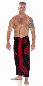 Hibiscus Mens Sarong in Red / Black
