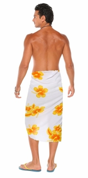 Hibiscus Mens Sarong in Yellow / White