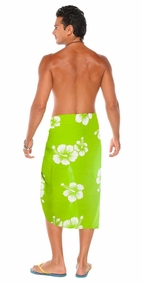 Hibiscus Mens Sarong Lime Green/White