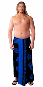 Hibiscus PLUS SIZE Mens Sarong in Blue On Black