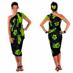 Hibiscus PLUS SIZE Sarong in Lime Green / Black