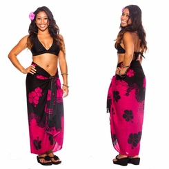 Hibiscus Sarong Fuchsia and Black