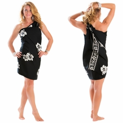 Hibiscus Sarong in Black / White PLUS Size Fringeless