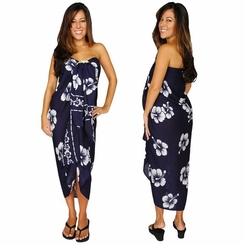 Hibiscus Sarong in Navy Blue / White FRINGELESS