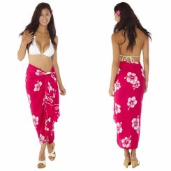 Hibiscus Sarong in Pink/White FRINGELESS