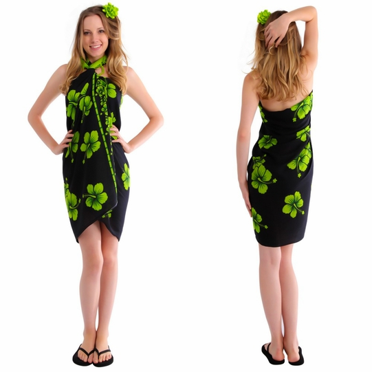 "Hibiscus Sarong ""Lime Green / Black"""