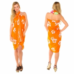"Hibiscus Sarong ""Orange / White"""