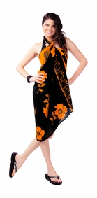 Hibiscus Sarong in Orange and Black