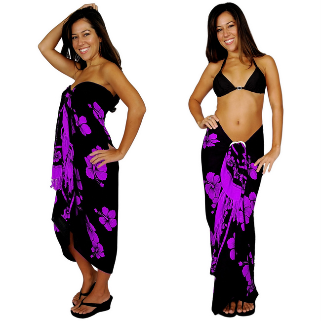"Hibiscus Sarong ""Purple on Black"""