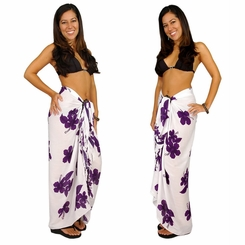 "Hibiscus Sarong ""Purple / White"""