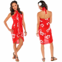 Hibiscus Sarong in Red / White