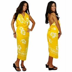 Hibiscus Sarong Yellow/White FRINGELESS