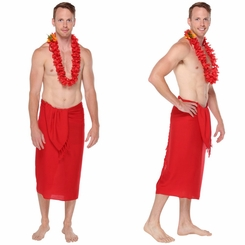 Hot Red Mens Solid Sarong