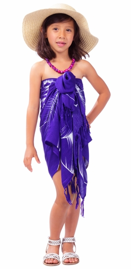 "Kids Floral Half Sarong """"Kahiau"""" Dark Purple"