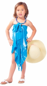 """Kids Floral Half Sarong """"""""Sea Gypsy"""""""" Turquoise and White"""