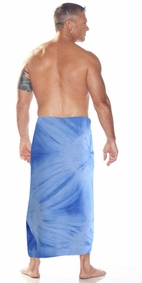 """Light Blue"" Smoked Mens Sarong PLUS SIZE XL - 3X +"