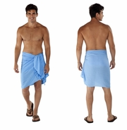Light Blue Solid Mens Sarong
