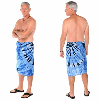 Light Blue Swirl Mens Sarong