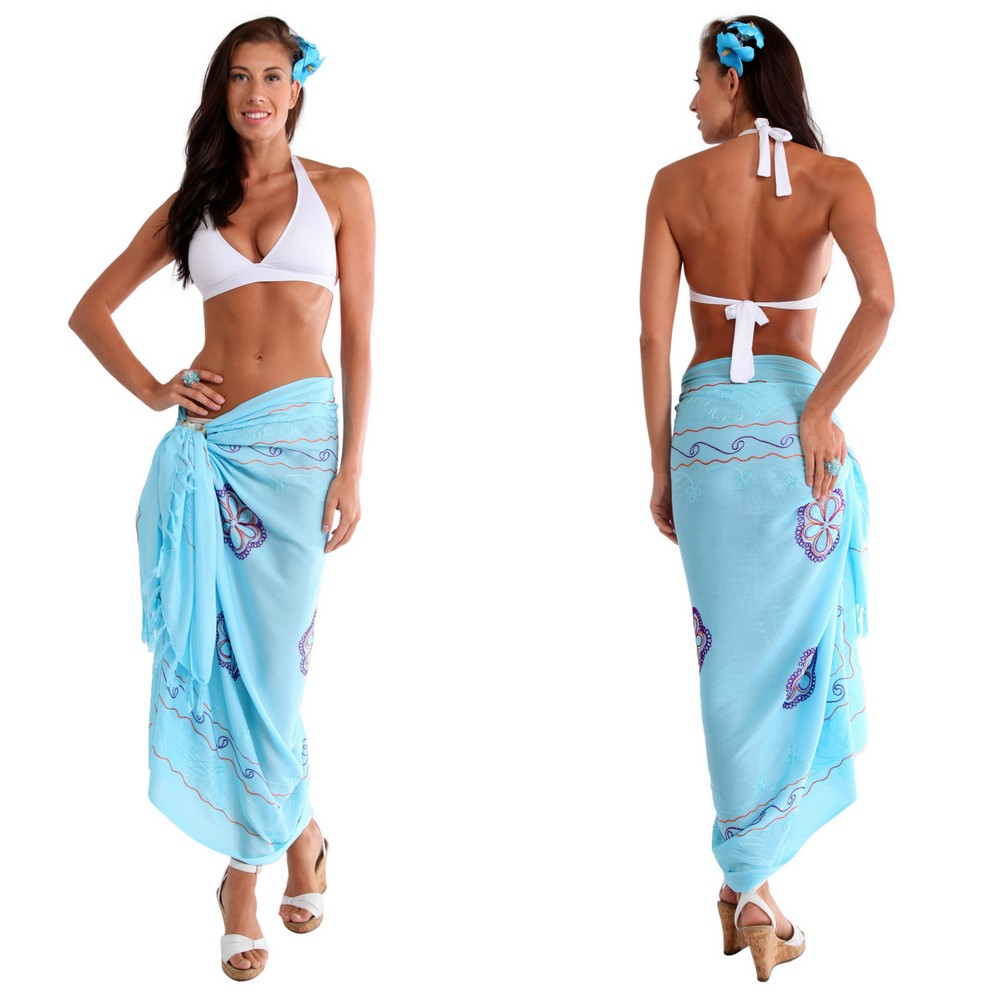 Light Turquoise Sarong W Triple Embroidery
